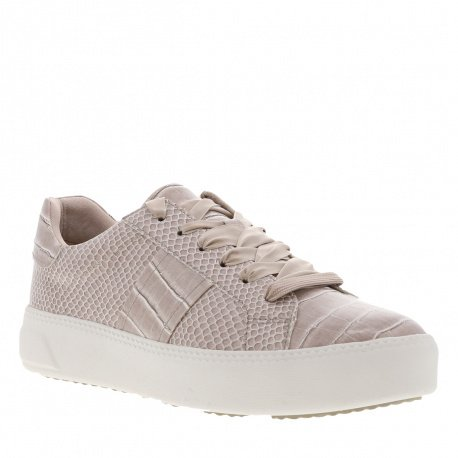 Baskets basses femme effet croco taupe