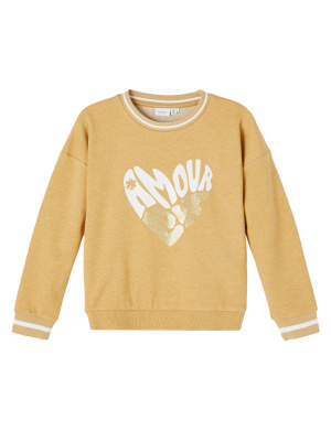 Sweat moutarde fantaisie col rond coupe droite