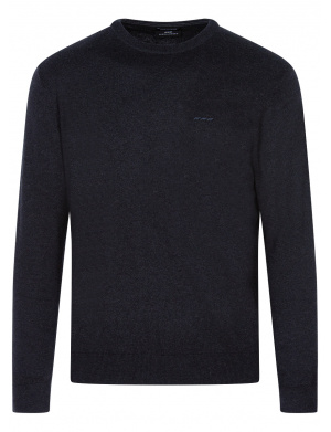 Pull anthracite en coton col rond