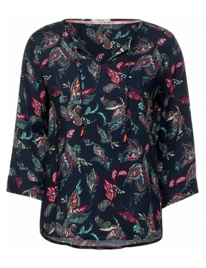 Blouse marine avec motif cachemire all-over coupe ample col v