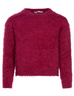 Pull EVERLEE rouge coupe oversize col rond