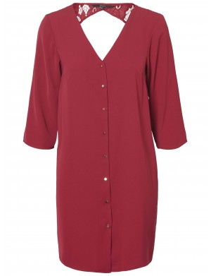 Robe manches longues femme rouge
